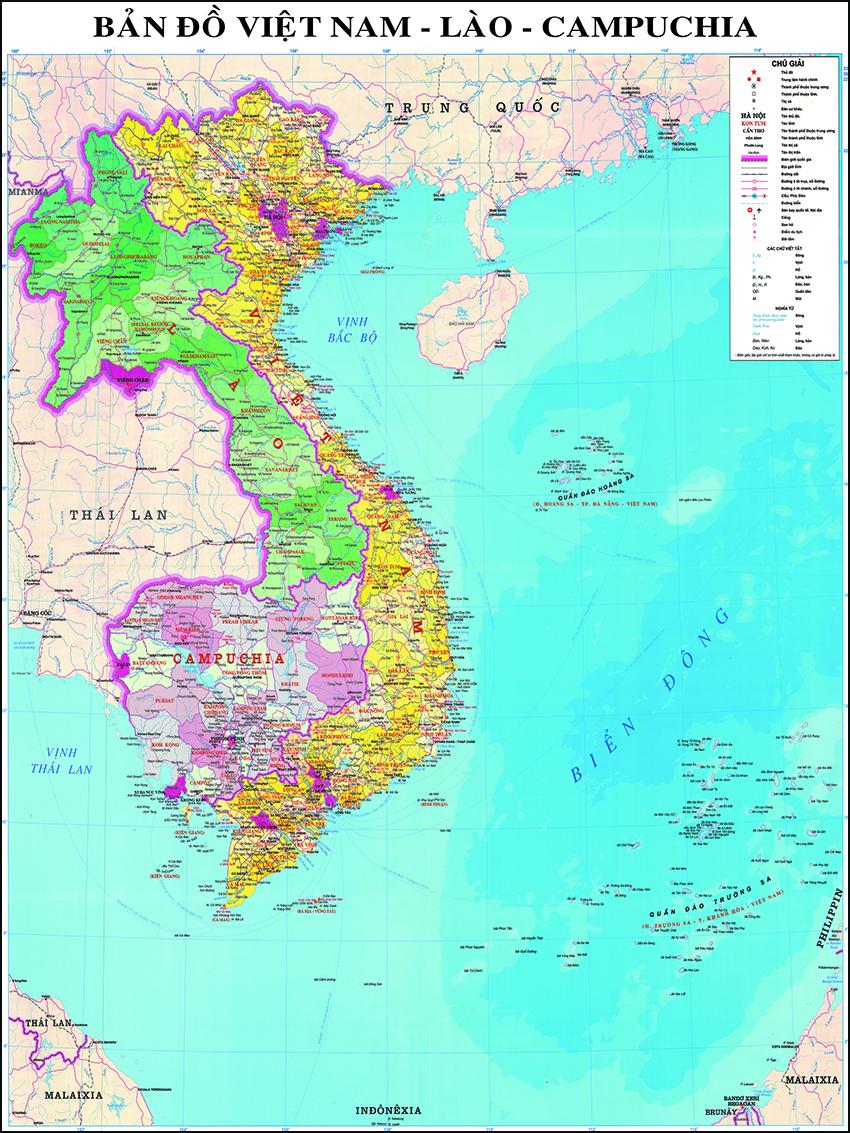Bản đồ Việt Nam - Lào - Campuchia