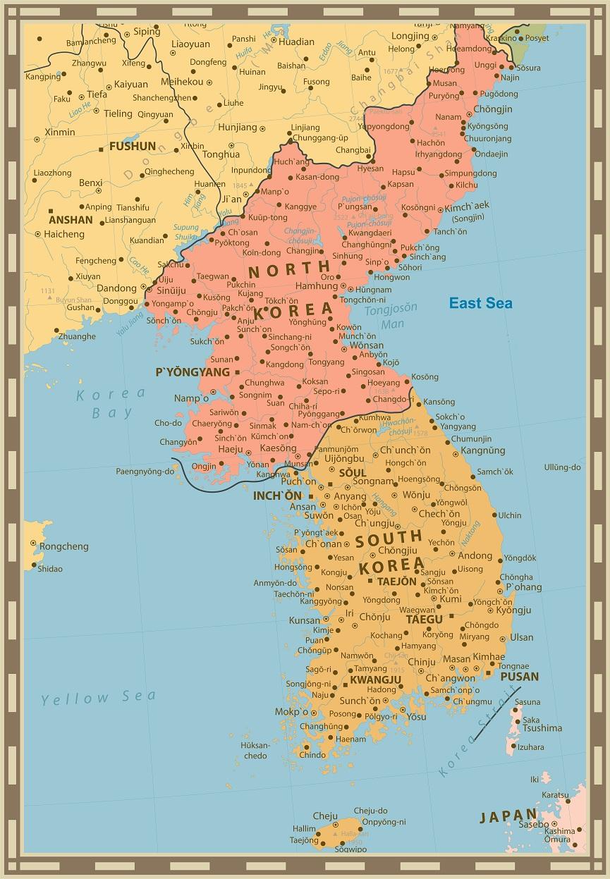 Bản đồ Hàn Quốc khổ lớn