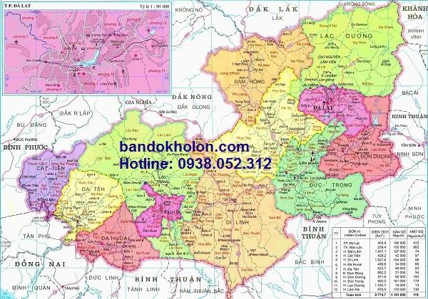 Bản đồ hành chính tỉnh Lâm Đồng chất lượng toàn diện