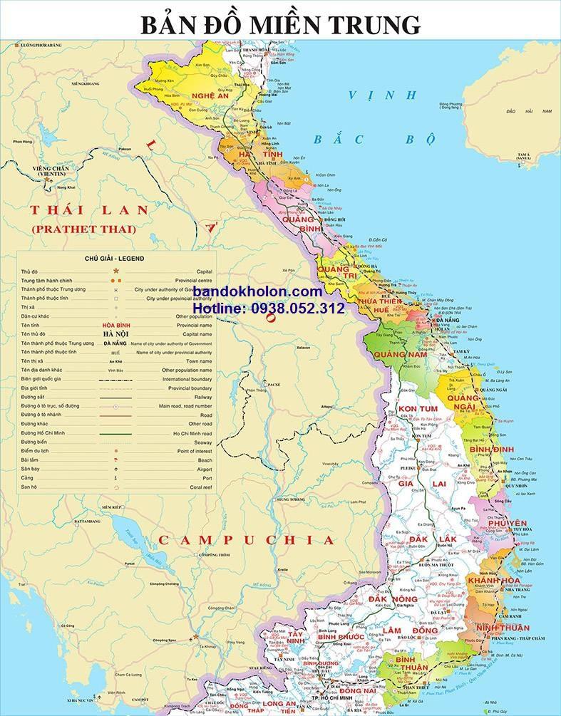 Đặt in bản đồ miền Trung Việt Nam chất lượng